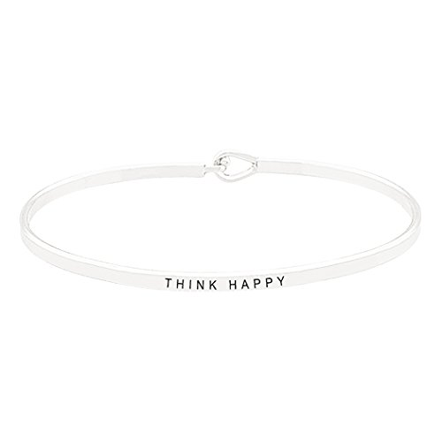 Rosemarie Collections Women's Inspirational Thin Hook Bangle Bracelet Think Happy (Silver)