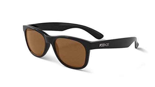 REKS Polarized Unbreakable SEAFARER Sunglasses, Black Frame, Brown Lens