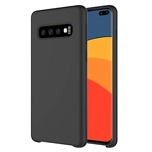 Orzero Liquid Silicone Gel Rubber Case Compatible for Samsung Galaxy S10 Plus Full Body Shock Absorbing Ultra Slim Protective [Baby Skin Touch] -Black