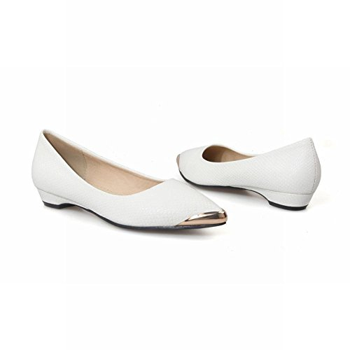 Carolbar Donna Punta A Punta Fashion Data Steel-toed Charm Mocassini Con Tacco Basso Scarpe Bianche