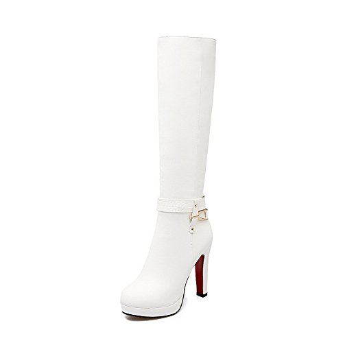 Allhqfashion Women's Closed Toe Blend Materials Solid Boots White-zippers gARN8Oq