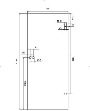 Duradoor Ganzglast/ürblatt ESG in 5-Streifen DIN Rechts 1972 mm x 959 mm x 8 mm Zimmert/ür B/ürot/ür Wohnzimmert/ür