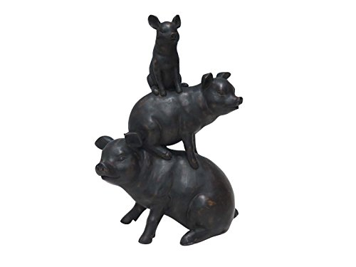 Three Little Pigs Statues - Deco 79 38284 Sculpture, Black
