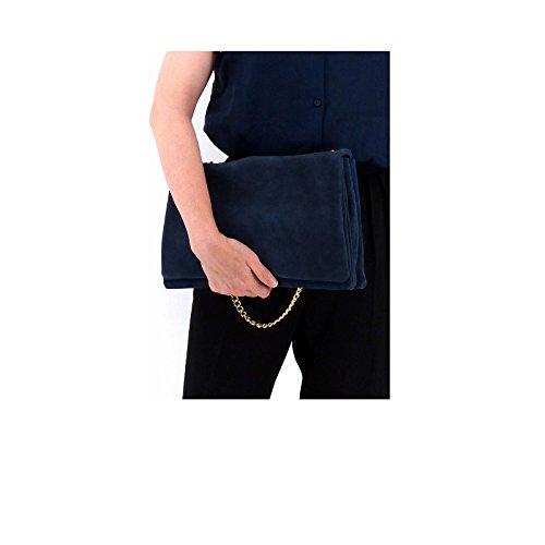 New Saison // Rouven // Liv 3-Fold Volume 30 Bag // Navy Poeny Blau Dunkelblau // Velourleder Wildleder Tasche mit Kettenhenkel Schultertasche // edel modern chic minimalistisch (30x20x10cm)