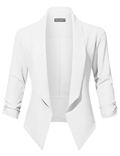 (LE3NO Womens Casual Office Open Front Ruched 3/4 Sleeve Cardigan Blazer Jacket, White, Large)