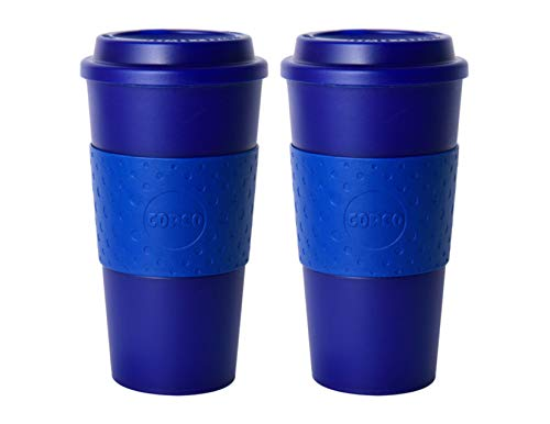 Copco Acadia Double Wall Insulated 16 oz Travel To Go Mug with Non-Slip Sleeve, Set of 2, Commuter Friendly, Drink On the Go (Translucent -