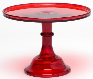 Cake Plate Round Plain & Simple Mosser Glass (12'', Red)