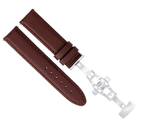 20MM Leather Watch Strap Band Deployment Buckle for Omega SPEEDMASTER L/Brown #2