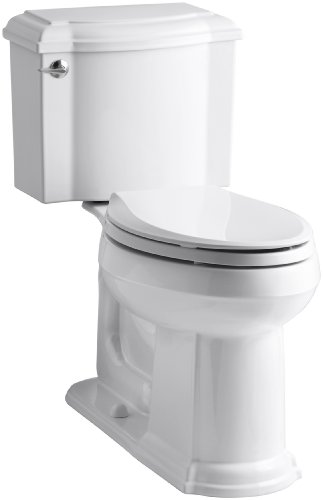 Two Piece Toilets Devonshire (KOHLER K-3837-0 Devonshire Comfort Height Two-Piece Elongated 1.28 gpf Toilet, White)