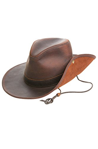 (Overland Sheepskin Co Aussie Distressed Leather Outback Hat)