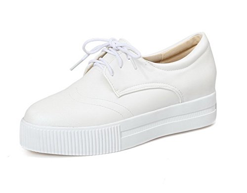 VogueZone009 Women's Lace-up Low-Heels PU Solid Round Closed Toe Pumps-Shoes White cek1uc