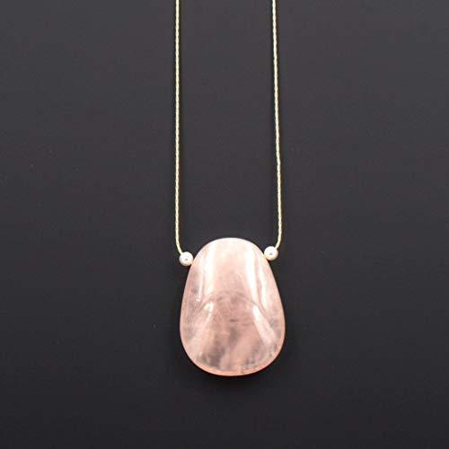 Rose Quartz Gemstone Pendant Necklace Swarovski White Pearl 1.5 & 18-in - Hamilton Gemstone Necklace
