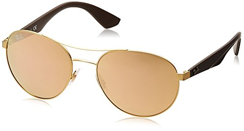 Ray-Ban METAL UNISEX SUNGLASS - MATTE GOLD Frame LIGHT BROWN MIRROR PINK Lenses 55mm - Mirror Round Pink Ban Ray Metal