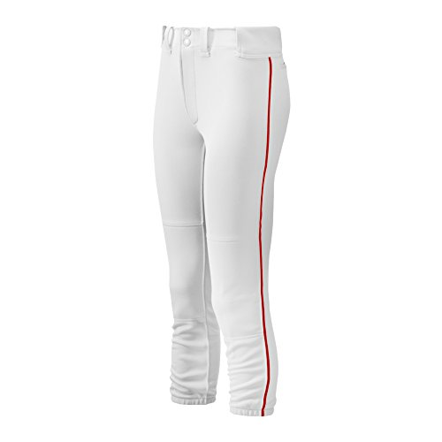 Mizuno Adult Women's Belted Piped Fastpitch Softball Pant, White-Red, ()
