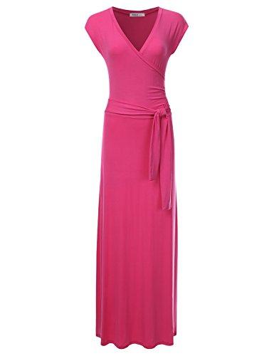 Crossover Front Dress - NINEXIS Women's V-Neck Cap Sleeve Waist Wrap Front Maxi Dress Fuchsia S