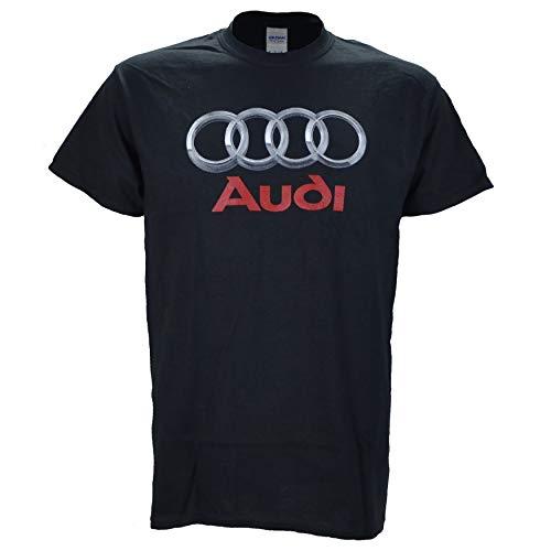 Audi Chrome Photographic Logo on a Black T Shirt Large
