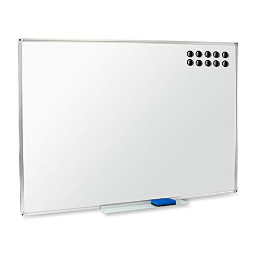 (Magnetic Dry Erase Whiteboard & Large Bulletin Board - 48 x 36 - Detachable Marker Tray for Horizontal or Vertical Use - Eraser & 10 Magnets Included - Display & Organize at Home, Office or School)