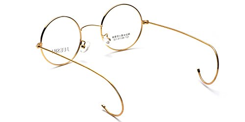 Vintage Cable Temple Round Eyeglass Frame Spectacles Rx Retro Mens Women Kids (Gold, 46)