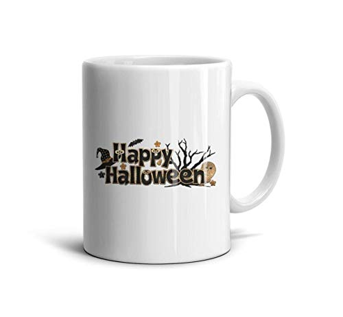 DoorSignHHH Happy Halloween Logo Simple Coffee Mug Fashion White Ceramic Souvenir Reusable Espresso Mugs]()