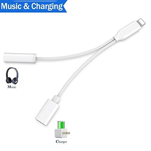 Earphone Ipod Splitter (Headphone Adapter for iPhone X Adapter Charger Adapter 3.5mm Square Jack Dongle Earphone Aux Audio & Charge Compatible for iPhone7Plus/ X/XS/XR/8/8 Plus Splitter Music and Charge Support iOS12 More)