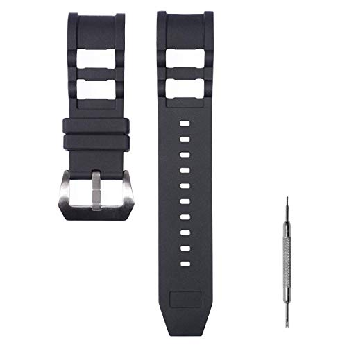 CACA for Invicta Watch Replacement Rubber Silicone Band/Strap with Stainless Steel Buckle for Invicta Russian Diver - Black Invicta Watch Bands