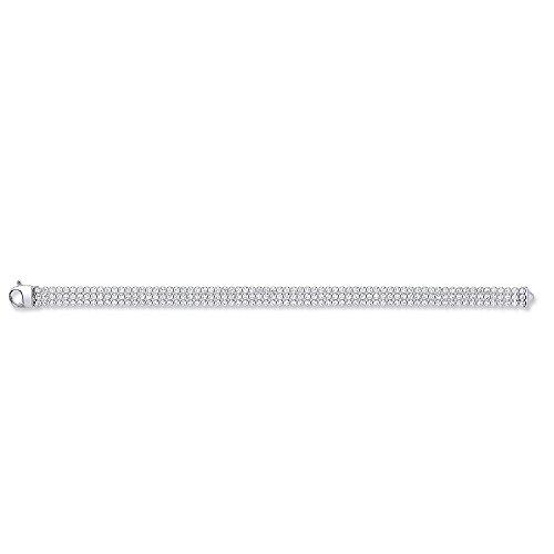 Jareeya-Argent Sterling rhodium plaqué rond 3rangées CZ Tennis Bracelet pour femme 17,8cm 9,5g