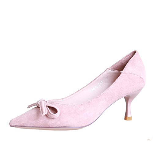 Shallow Shoes Mouth Fashion Autumn Shoes Heels Eight Bow Pointed Single Pink KPHY Shoes Thin Sweet Thirty g0fq4