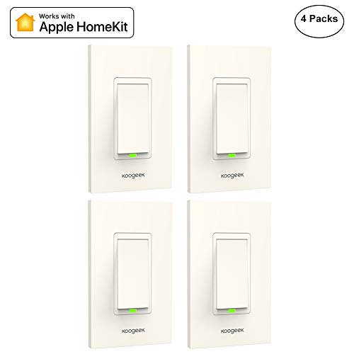 Koogeek Smart WiFi Light Switch for Apple HomeKit with Siri Remote Light Control Switch on 2.4Ghz Network No Hub Required Single Pole (4-Pack)