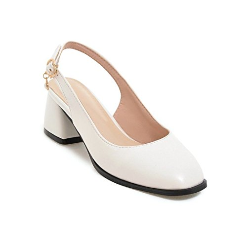 AIKAKA Zapatos de Mujer en Primavera y Verano con Cabeza Cuadrada Sandalias Grandes White