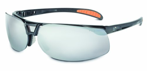 - Uvex by Honeywell Protégé Safety Glasses, Metallic Black Frame with Silver Mirror Lens & Ultra-Dura Anti-Scratch Hardcoat (S4203)