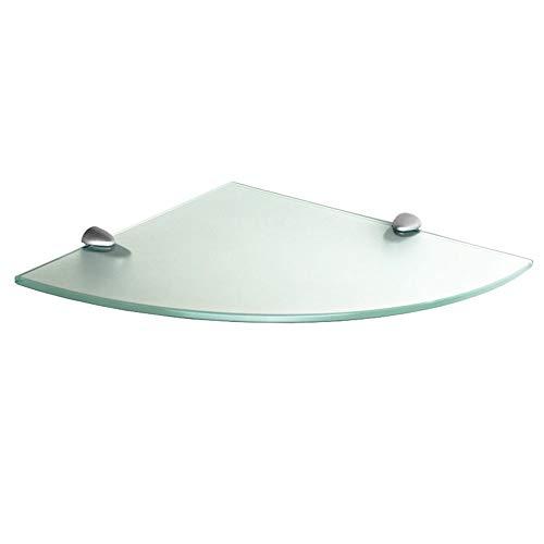 (Floating Glass Shelf (Corner) 6x6 inch w/Chrome Brackets - Frosted)