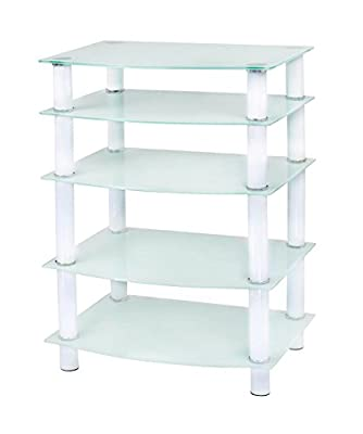 Naomi Home 5 Tier Glass Media Tower Silver/Clear