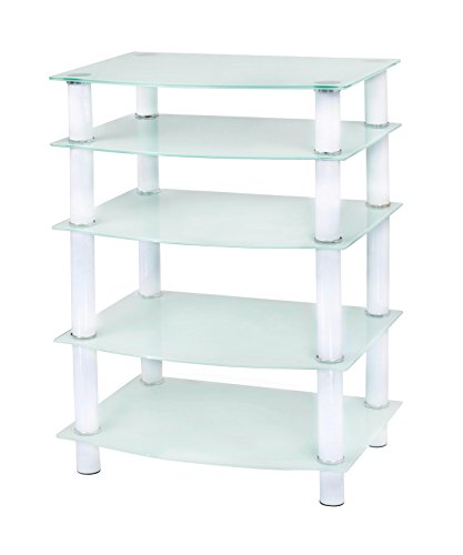 Naomi Home 5 Tier Glass Media Tower White/White