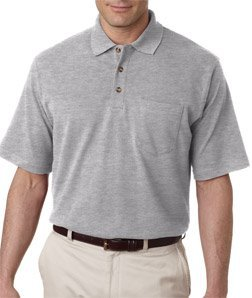 UltraClub Men's Classic Pique Polo Short Sleeve Shirt with Pocket, Large - Grey