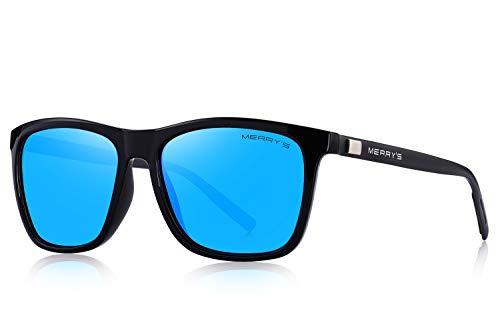 MERRY'S Polarized Sunglasses for Women Aluminum Men's Sunglasses Driving Rectangular Sun Glasses for Men/Women (Blue Mirror, 56)