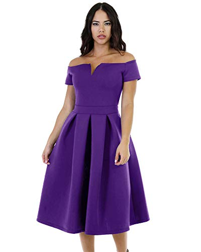 LALAGEN Women's Vintage 1950s Party Cocktail Wedding Swing Midi Dress Purple XL