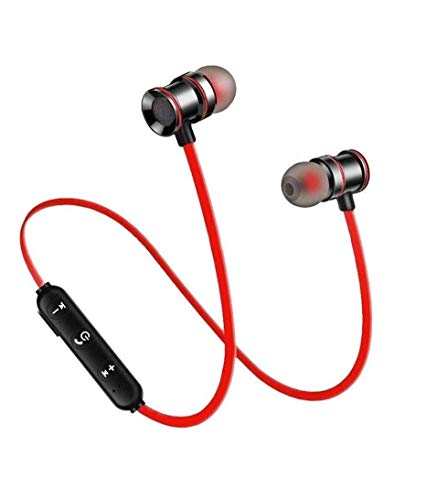 Lowfe T004 Magnet Wireless Bluetooth Headphones, Headset with Mic and Sound Button Earphone for Mi Note 5/6/7 Pro, 6A, Y2, A2, A1, Y3 All Smartphones (Black)