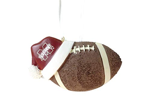(Mississippi State University Santa Hat Football Hanging Ornament)