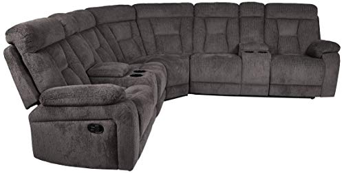 Homelegance Rosnay Manual Reclining Sectional with Console, 108W, Chocolate Fabric