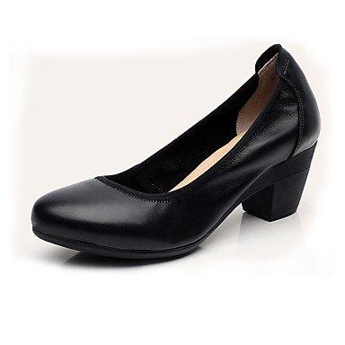 Tacón Almond Primavera Almendra Zapatos Robusto Mujer Café Lvyuan Más 12 Y ggx Tacones Cuero Otoño Negro Formales Cms q4xB8T