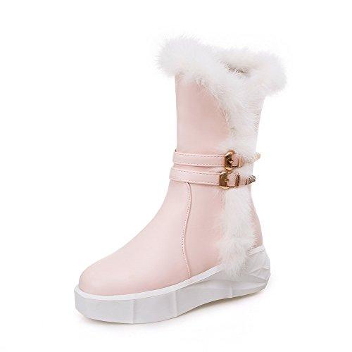 AllhqFashion Damen Weiches Material Rund Zehe Rein Niedrig-Spitze Stiefel, Pink, 39