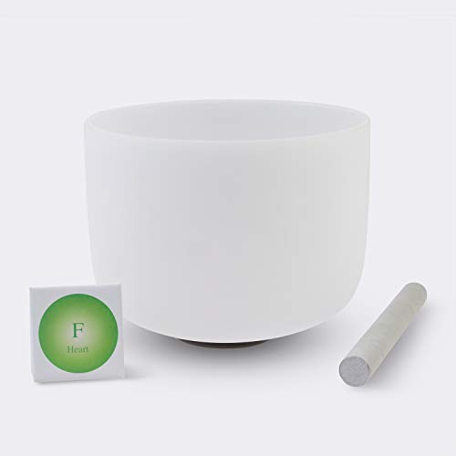 "TOPFUND Frosted F Note 4th Heart Chakra Virgo Quartz Crystal Singing Bowl 10"" Suede Sticker or Rubber Mallet Included - Best and Highest Quality Sound & Material"