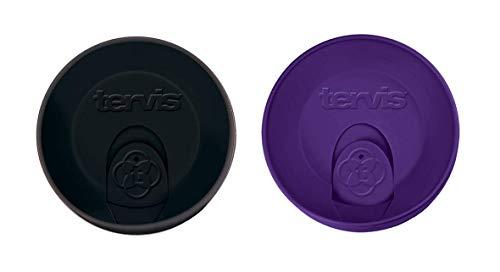 Tervis Travel Lid for 24 oz Tumbler and Mug, Black and Royal Purple 2-Piece Set