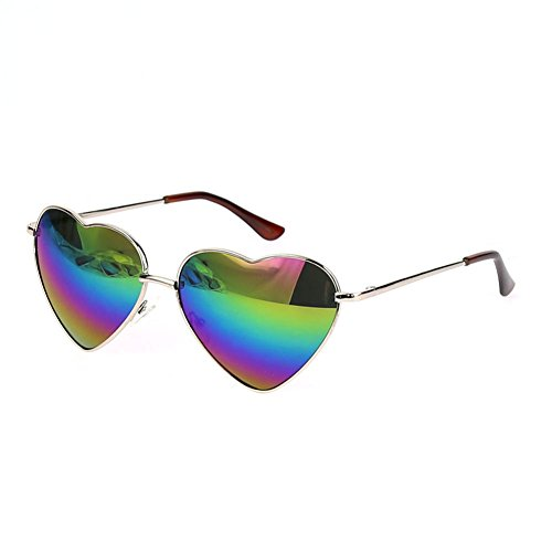 FUNOC Retro Metal Frame Heart Shaped Shape Gradient Sunglasses - Shaped Sunglasses