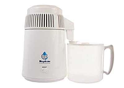 Megahome Water Distiller, White Enamel, Plastic Collection