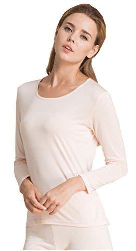 Metway Women's Silk Long Johns Snug Fit Silk Thermal Underwear Sets (Medium, Pink) by METWAY