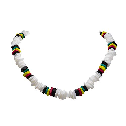 Puka Chip Shell & Rasta Dyed Coco Wood Necklace