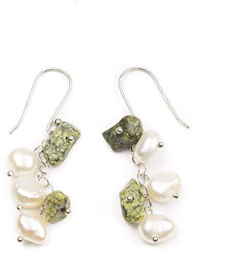 HinsonGayle Handpicked Freshwater Cultured Pearl & Green Jasper Dangle Earrings Sterling Silver