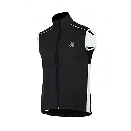 URBAN CYCLING WINDBREAKER VEST - Windproof and Reflective sleeveless jacket vest gilet for road cycling, MTB, or bike commuting (Black/White, Medium 41