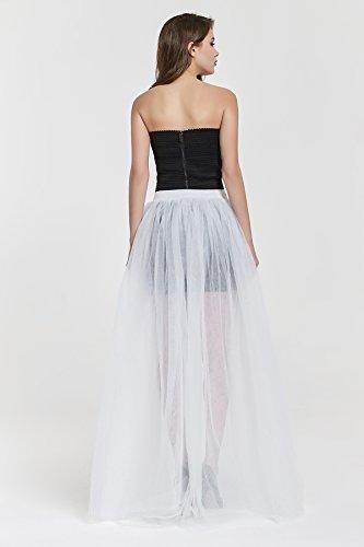 f4fce2f5f22831 Women's 4 Layers Overlay Long Tulle Skirt Overskirt Floor Length Tutu for Wedding  Party (White